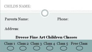 children classes punch card