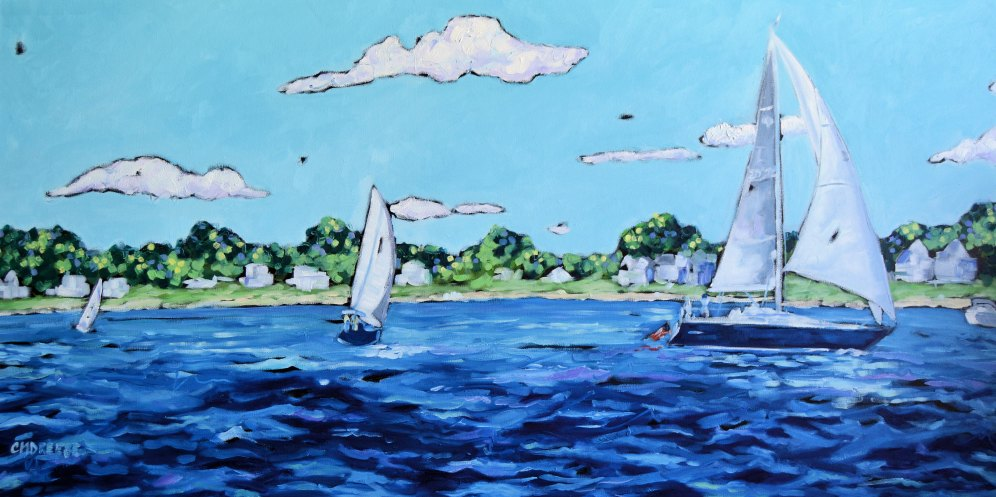 Christi Dreese Sailboats 24x48 oil painting