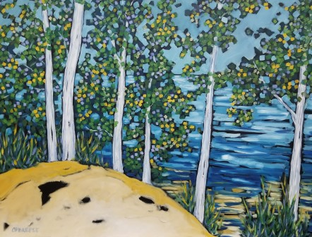 dreese beach trees hamlin lake30x40